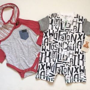NWT 3/6 Months baby boy bundle of onesies romper